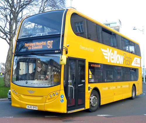 WG65 BYO 'Plymouth Citybus' No. 523 'Yellow Flash' Alexander Dennis Ltd. E40D on 'Dennis Basford's railsroadsrunways.blogspot.co.uk