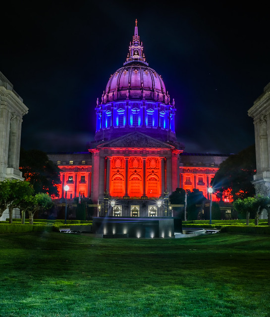 city hall illuminated for portugal national day