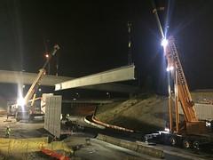 Girder setting on new I-5 bridge