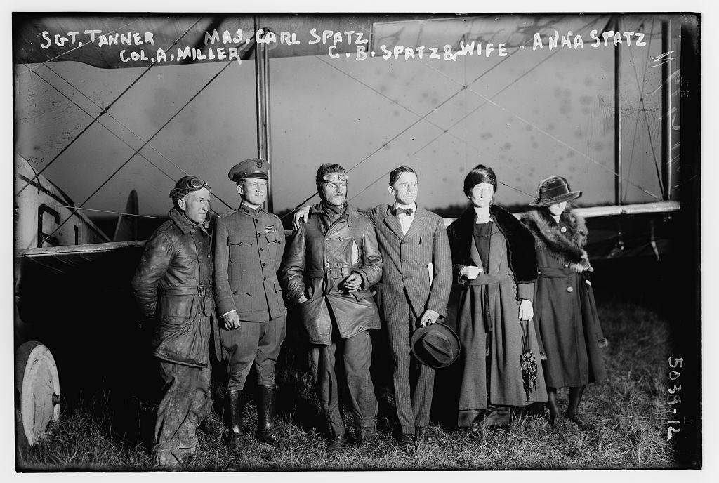 Sgt. Tanner, Maj. Carl Spatz, Col. A. Miller, C.B. Spatz & wife, Anna Spatz (LOC)