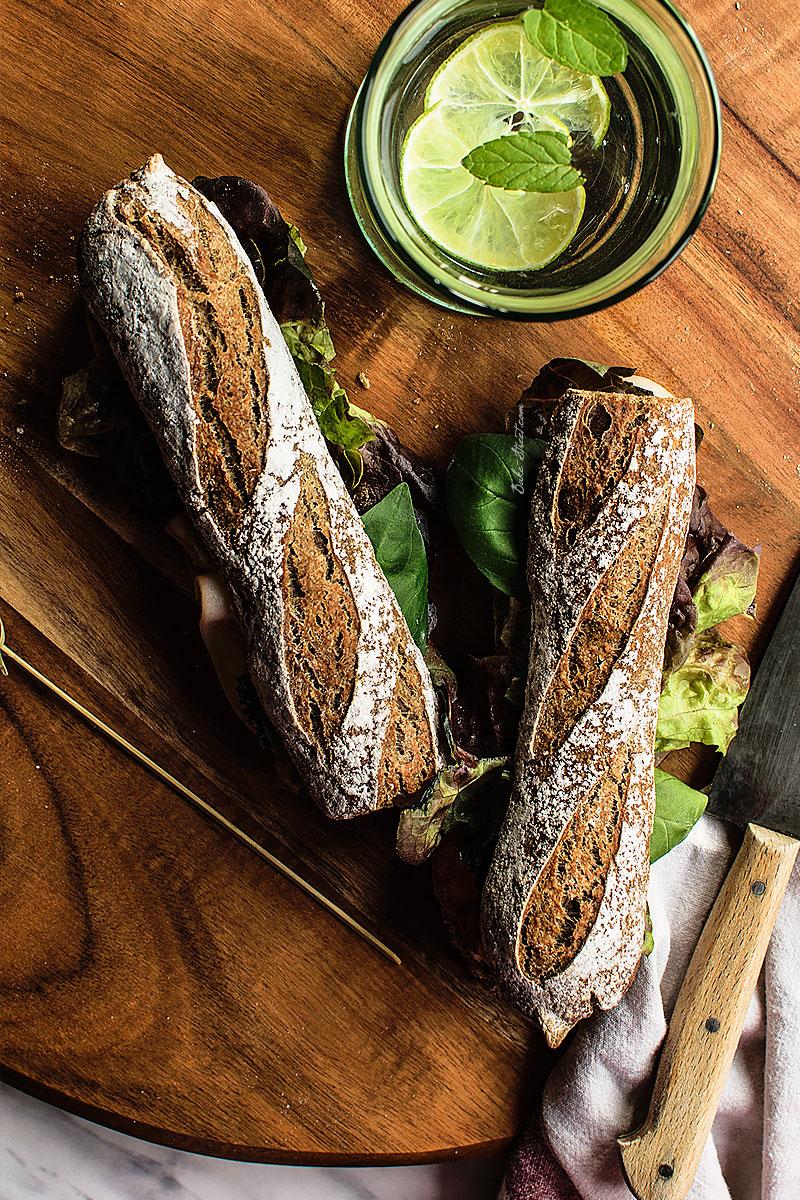 Baguettes con harina de aceitunas