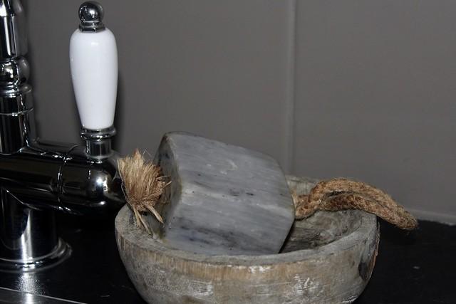 Zeep met touw zeepbakje