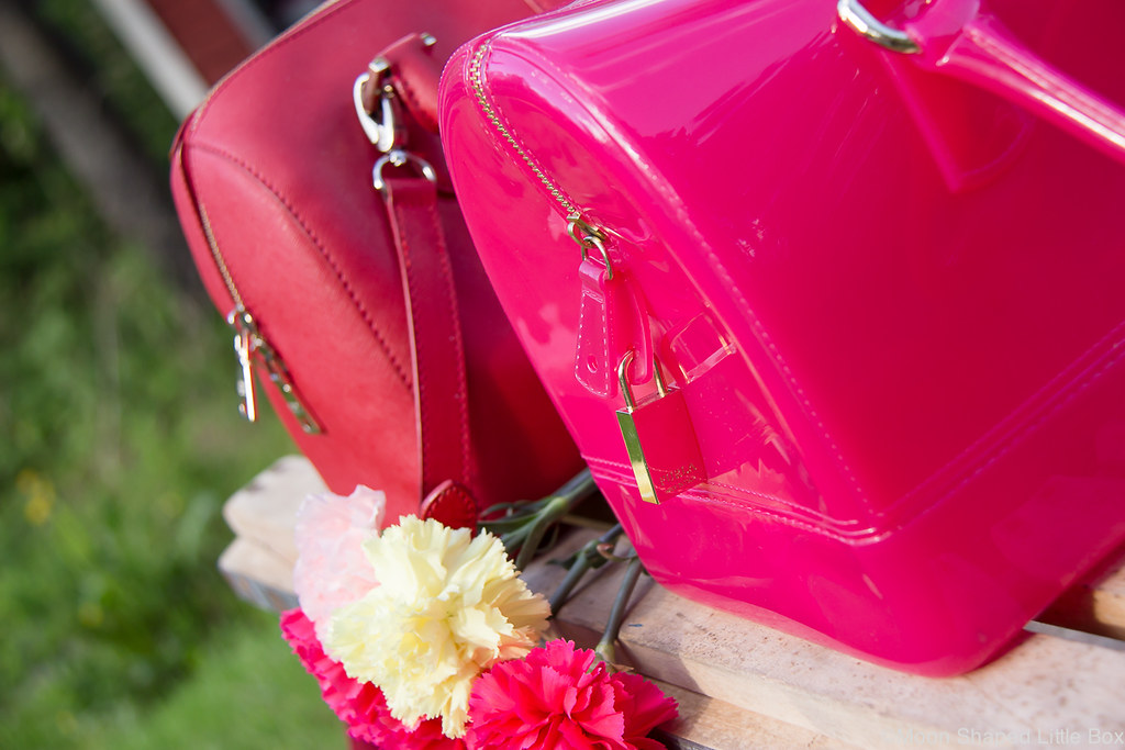 designer bags, furla candy, DKNY saffianoleather bag, pink bag, red bag