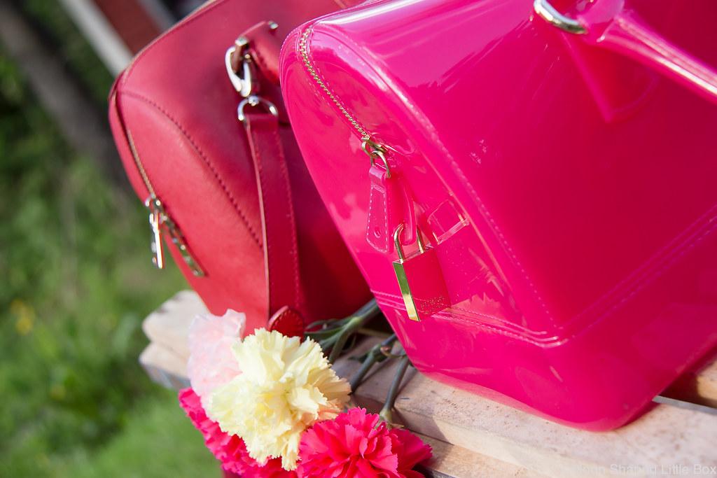 designer bags, furla candy, DKNY saffianoleather bag, pink bag, red bag