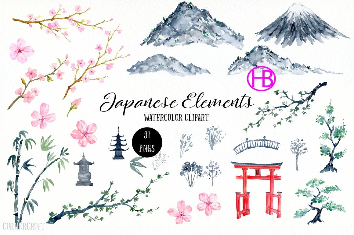 Element tranh sơn nước Nhật Bản