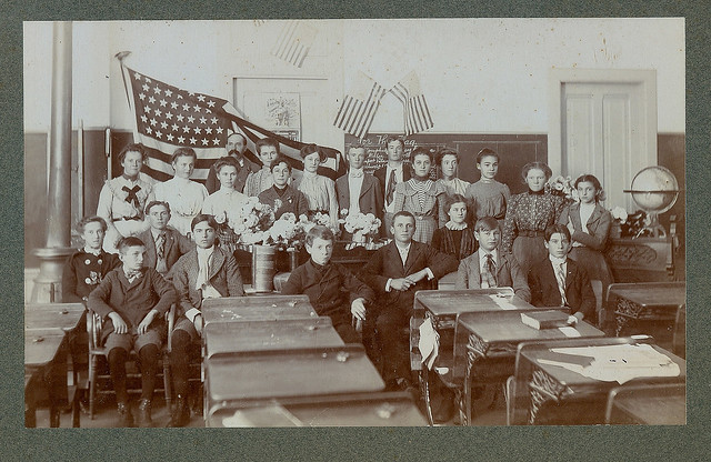 Classroom with American flag odd size cardboard