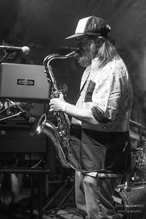 Titanium Stardust Machine's Nick 'muppet' Merena on sax/ vocals