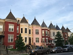 Row houses with turrets, evening on 11th Street NW, Washington, D.C.