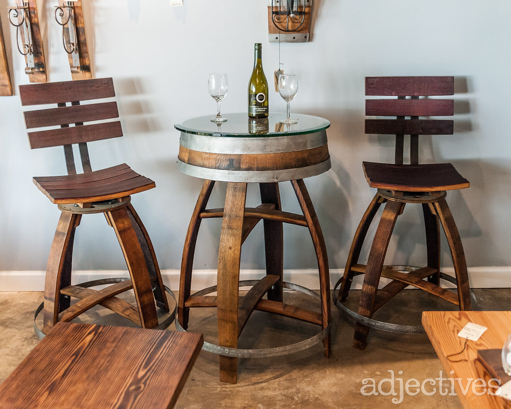 Custom pub table set, made from wine barrels in Altamonte by A Wine of a Kind