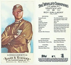 2009 Topps Allen & Ginter's Mini EXT Rip Baseball Card - ROY HALLADAY (Pitcher) Toronto Blue Jays (#366)