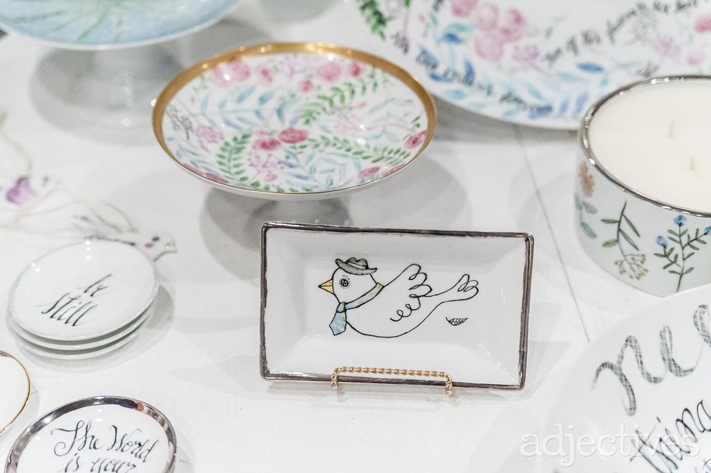Handpainted porcelain dishes by Susan Steele Meyer at Adjectives Winter Park
