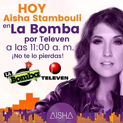 Hoy, a las 11:00 a.m. estaremos con ustedes por La Bomba, en Televen @labomba_televen ¡No te lo pierdas! Estaremos hablando sobre mi nuevo videoclip: #tulatienesquepagar   #aishastambouli #aishalaprotagonista #tulatienesquepagar #invenciblerecords #musica