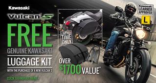 Vulcan S FREE Genuine Kawasaki Luggage Kit