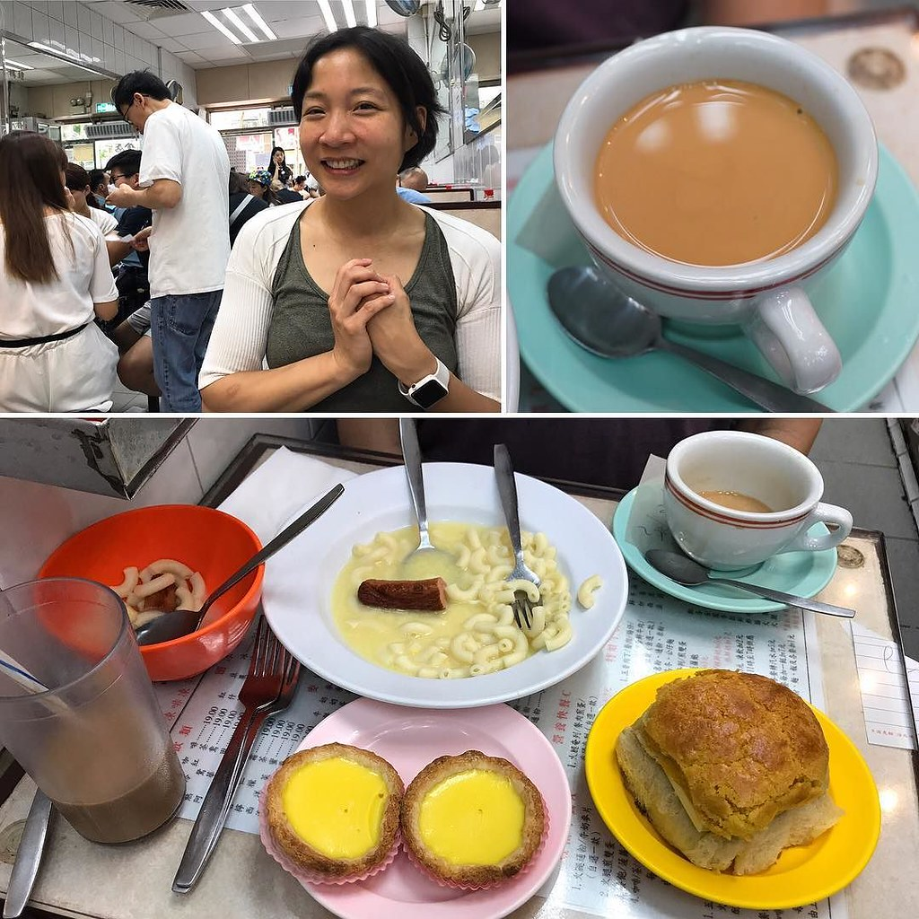 Macaroni sausage & egg, coffee milk tea, egg tarts, and pineapple buns with butter Kam Fung Bakery Wan Chai
