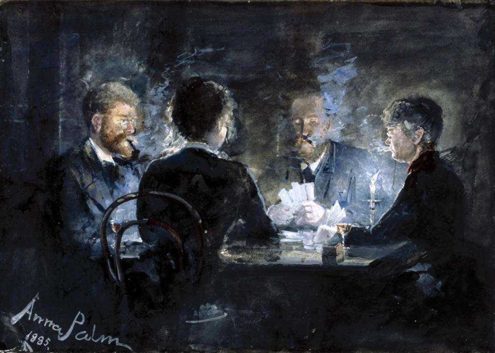 A game of l'hombre in Brøndums Hotel by Anna Palm de Rosa, 1885