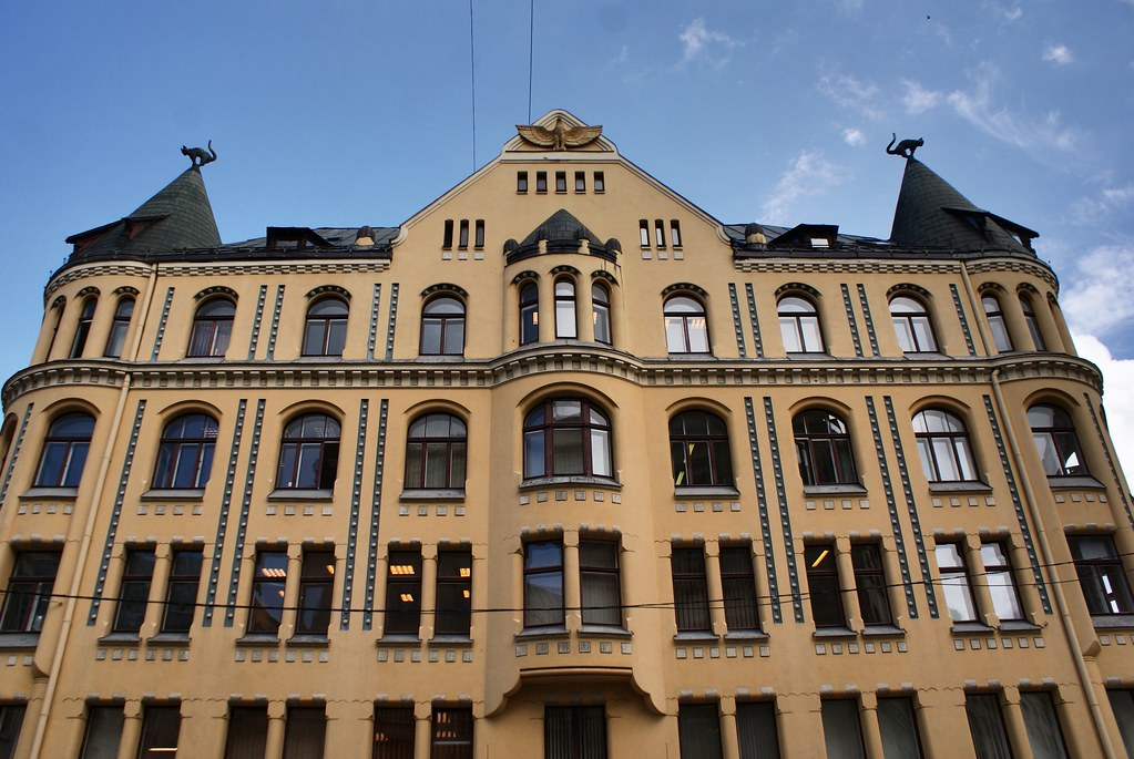 """Architecture """"art nouveau"""" : La maison aux chats de Riga."""