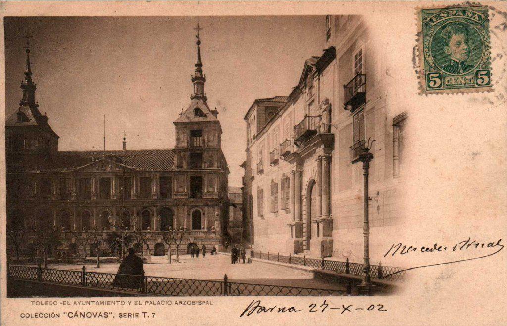 Plaza del Ayuntamiento  hacia 1900. Fotografía de Antonio Cánovas del Castillo, Dalton Kaulak.
