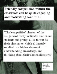"""Educational Postcard:  """"The 'competitive' element ....ultimately resulted in a higher degree of understanding, knowledge, and thinking...."""""""