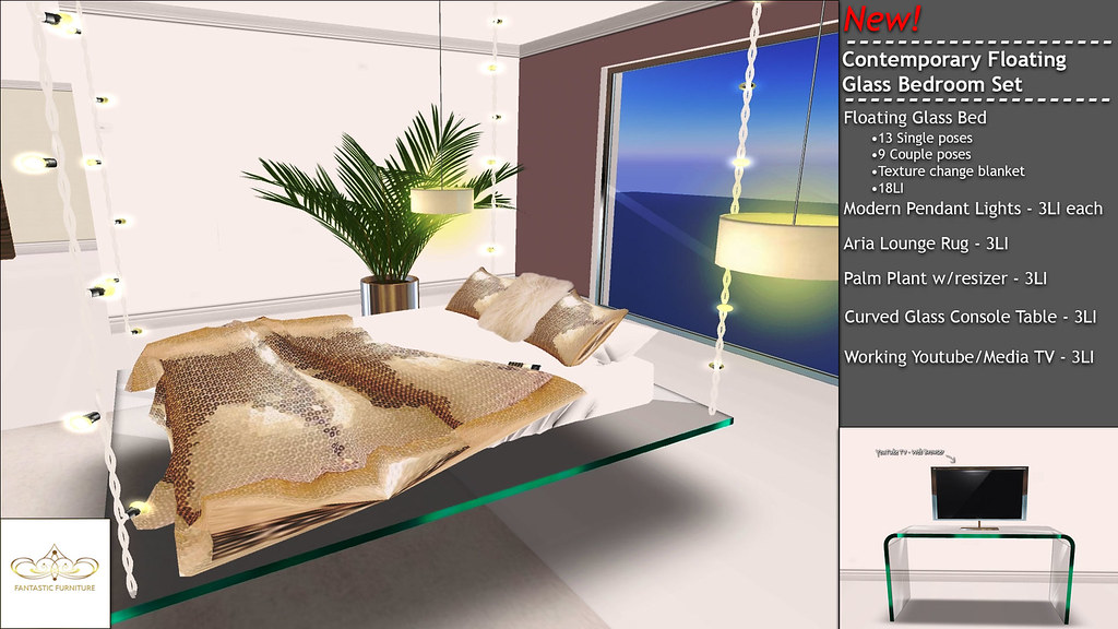 New! Floating Glass Bedroom Set - SecondLifeHub.com