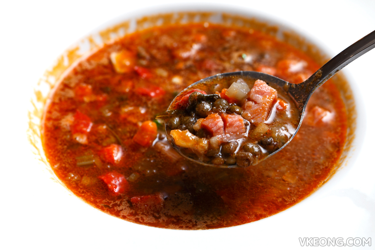El Iberico Lentils Soup with Chorizo and Cured Pork Belly