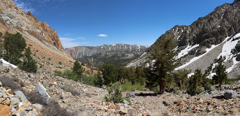 Looking back down-canyon on the Paiute Pass Trail, Cloudripper Peak in the far distance