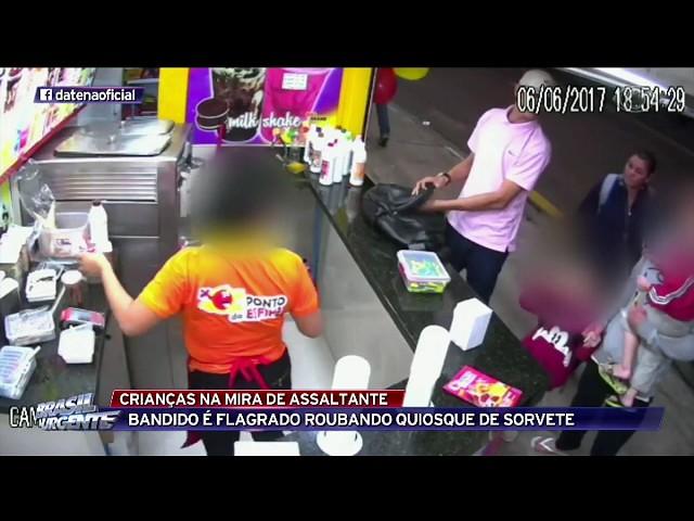 Bandido é flagrado roubando quiosque de sorvete