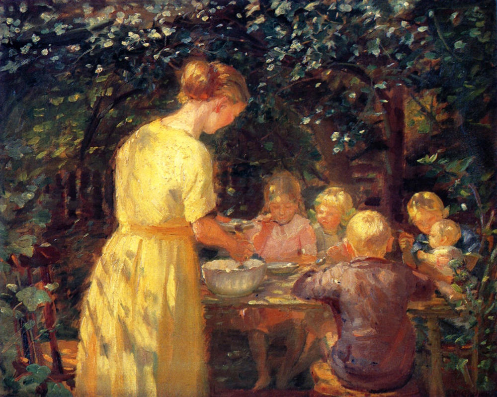 Midday Meal in the Garden by Anna Ancher, 1915