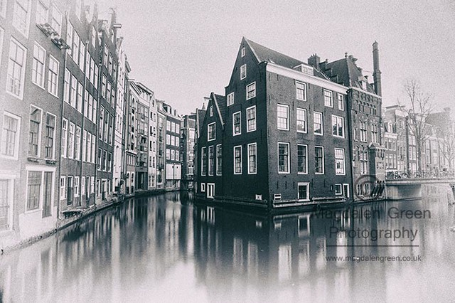 From Days Gone By - Amsterdam - Canal View - Black and White - Holland