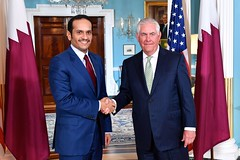 Secretary Tillerson and ‎Qatari Foreign Minister Al Thani  Pose for a Photo Before Their Meeting in Washington