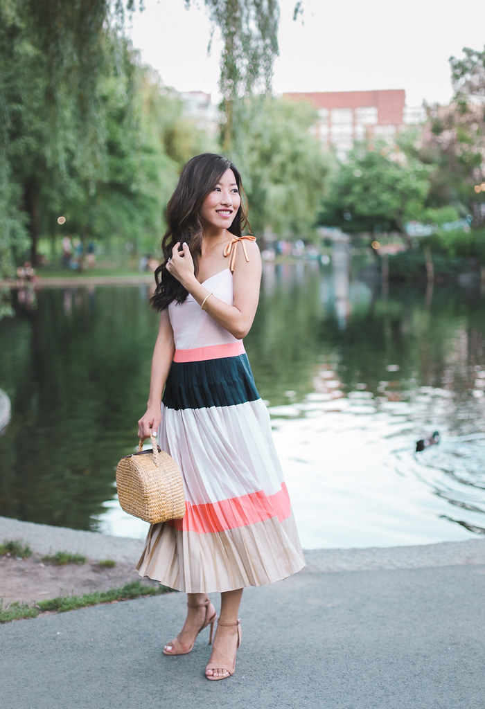 pleated midi dress petite fashion summer cocktail dress outfit