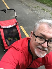Daddy takes the twins on a bike ride to Leesburg (about 12 miles)