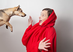 Little Red Riding Hood meets the dog....er, I mean Wolf...