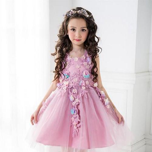 Lavender Flower Garden Kids Party Dress