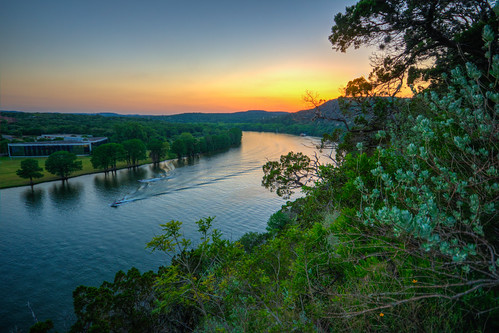 austintx texas tex austintexas colorado river coloradoriver sun sunset landscape hdr nature
