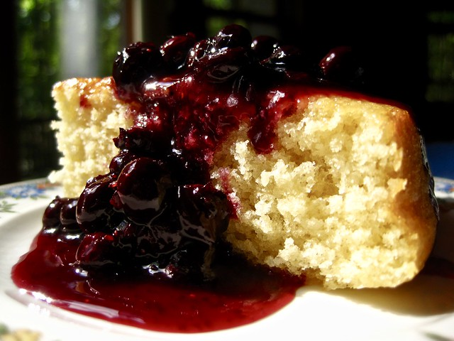 Butter Cake with Blueberry-Maple Compote