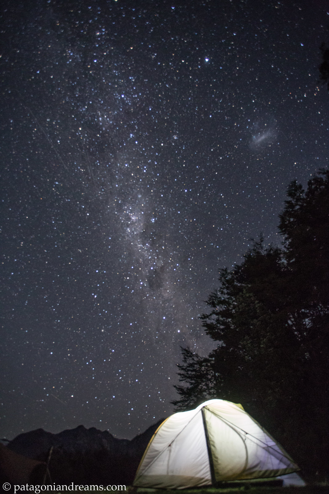 Camping under the Milky Way. Parque Pumalin. Region de los Lagos. Patagonia. Chile.
