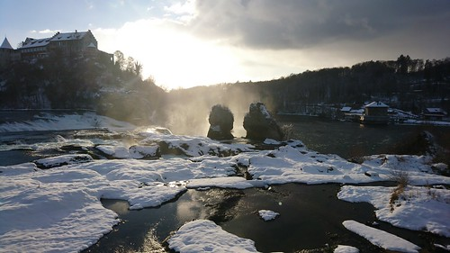 rheinfall waterfall snow sunset xperia x compact