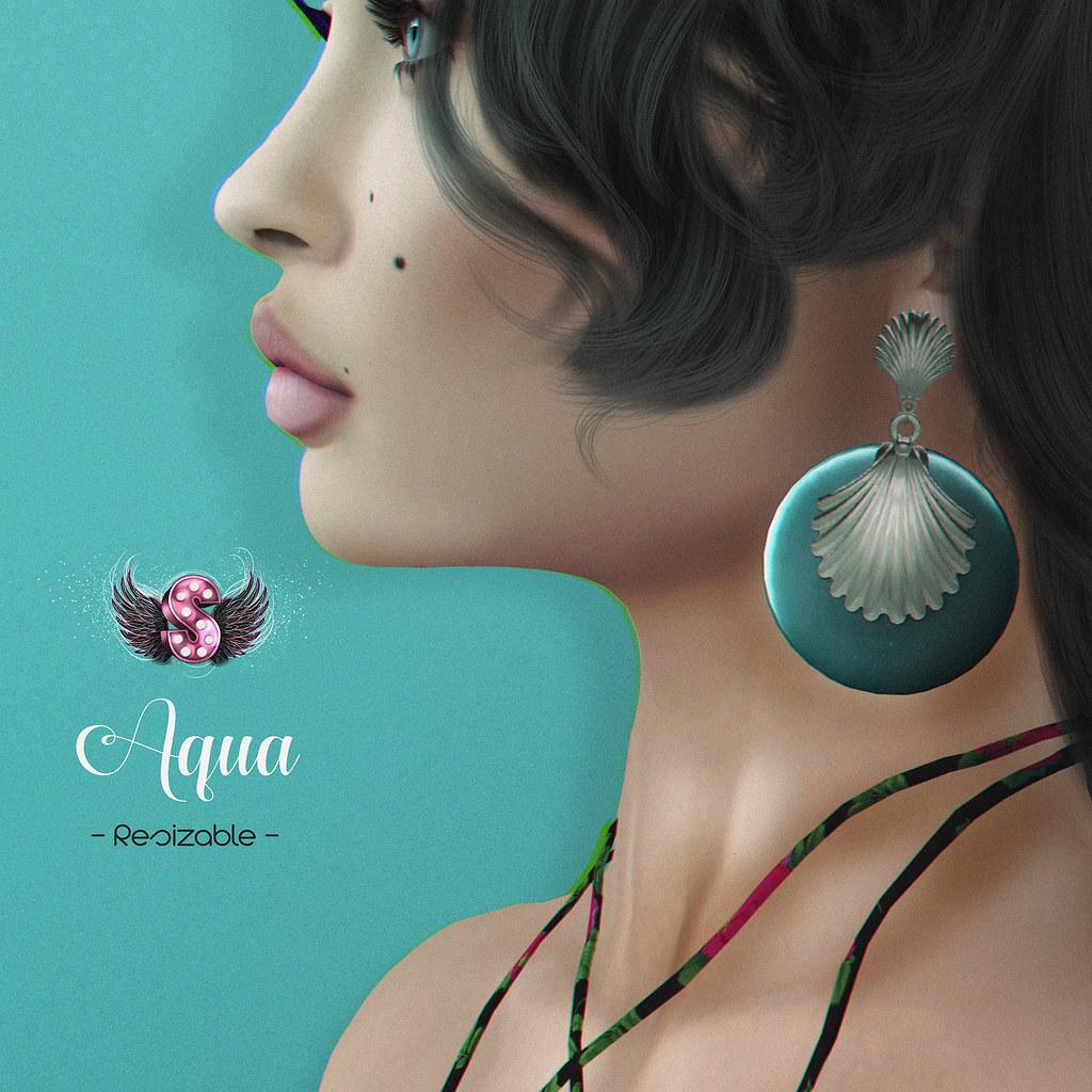 .::Supernatural::. Aqua Earrings @ Shiny Shabby - SecondLifeHub.com