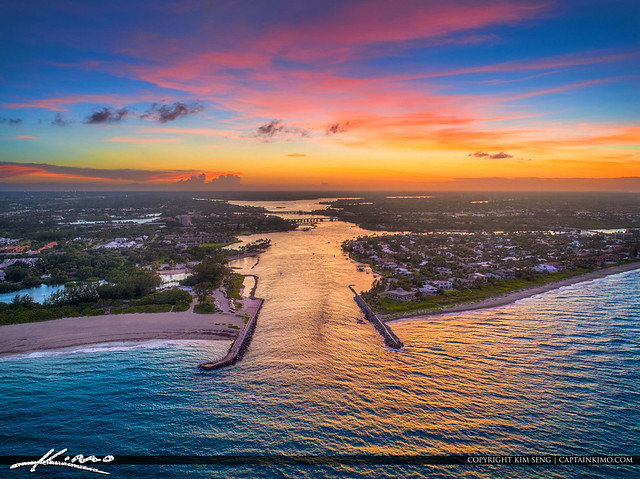 Sunset Jupiter Inlet Aerial Photography Palm Beach County Florida