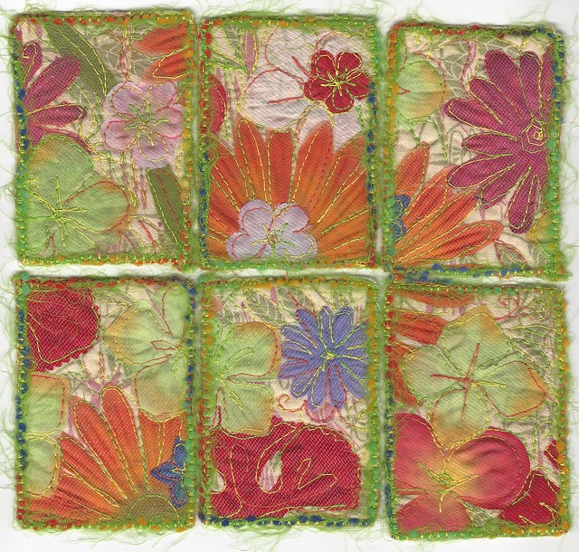 Fabric Collage ATCs # 6-11