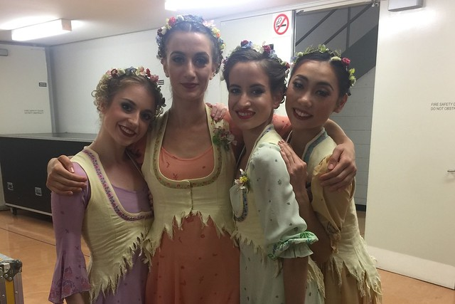 Meaghan Grace Hinkis, Annette Buvoli, Leticia Stock and Mariko Sasaki backstage during The Royal Ballet's 2017 Australian Tour