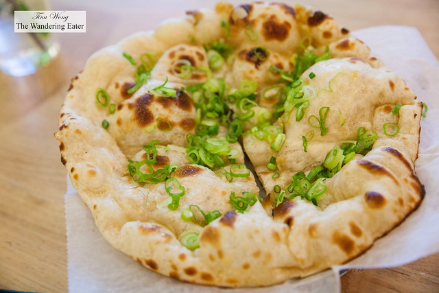 Fresh garlic naan with fresh scallions