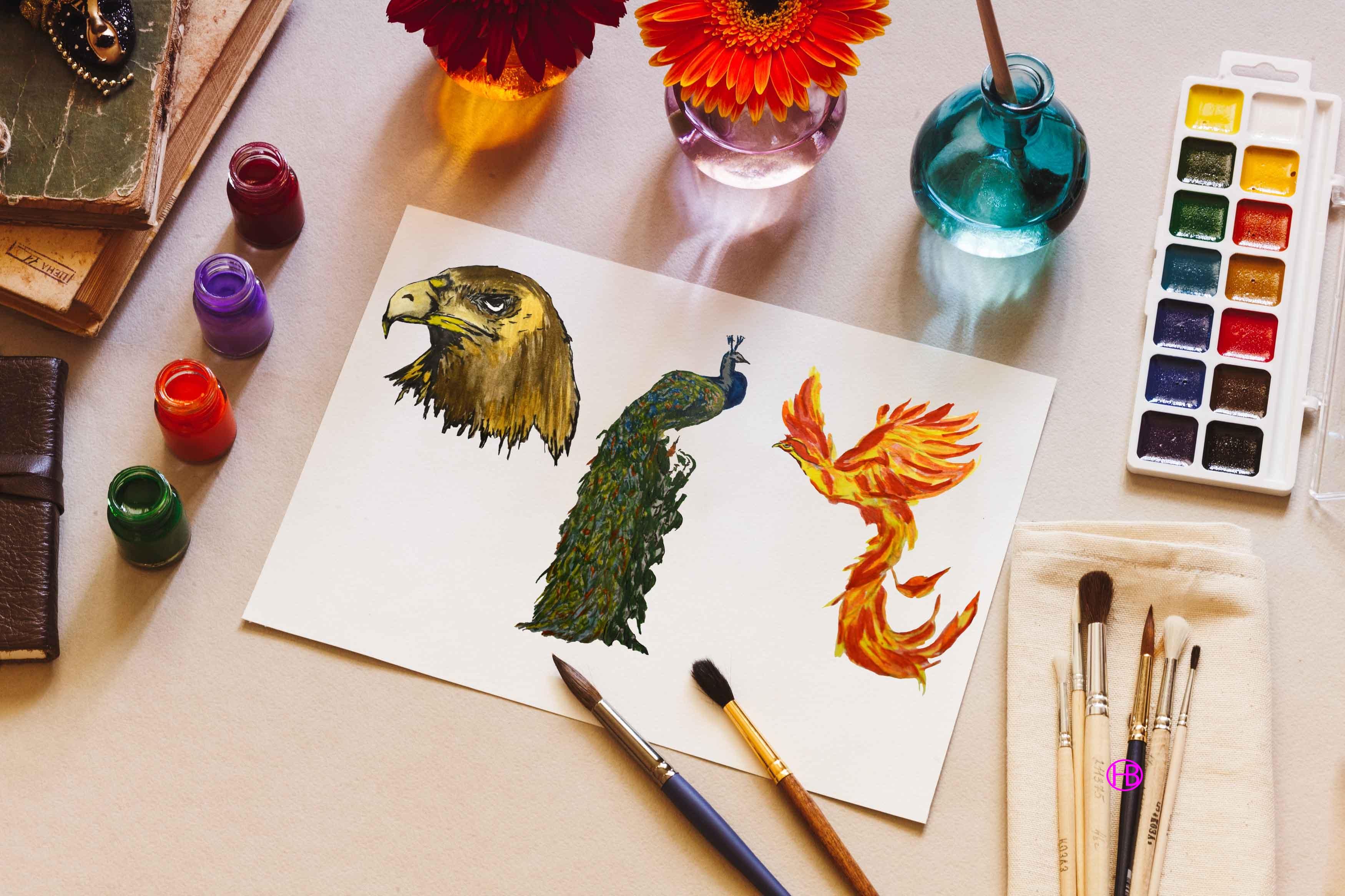 Bộ Brush màu nước về loài chim dành cho designer