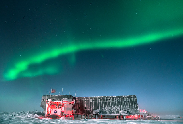 Aurora over South Pole Station