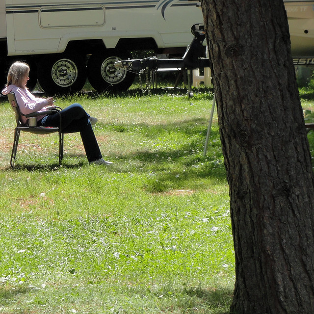 Joan, reading at camp