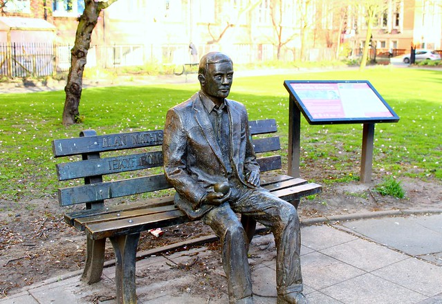 Alan Turing Memorial - 1 - April 11th, 2017. Turing was a computer pioneer who trafically commited suicide two years after being convicted of indecency for homosexual acts. His statue sits in Sackville Park, next to Canal Street.