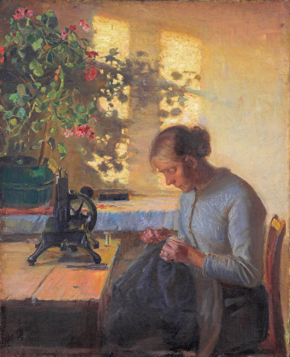 Sewing Fisherman's Wife by Anna Ancher, 1890