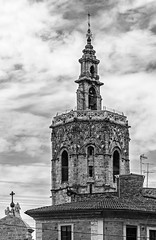 El Micalet (Bell Tower) Valencia Cathedral ( View from Plaza de La Virgin) (BW) (Olympus OM-D EM5-II & Panasonic -Leica 35-100mm f2.8 Telephoto Zoom)