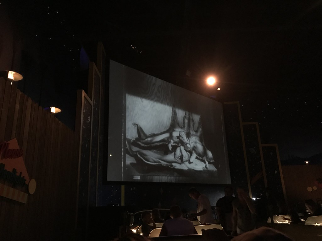 """Guests sit in """"cars"""" and dine like it's an old-school drive-in at the Sci-Fi Dine-In Theater"""