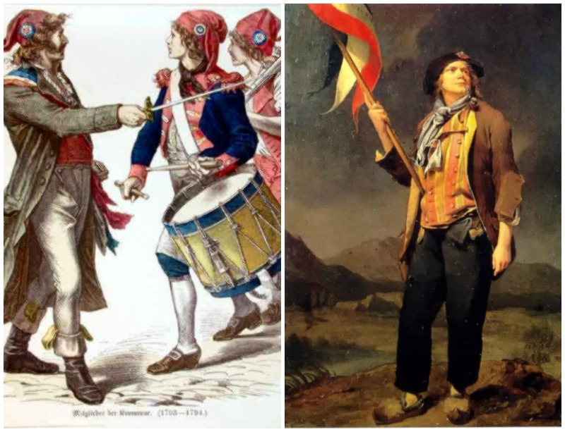 French revolutionaries wearing Phrygian caps and tricolor cockades and sans-culotte carrying earlier tricolor